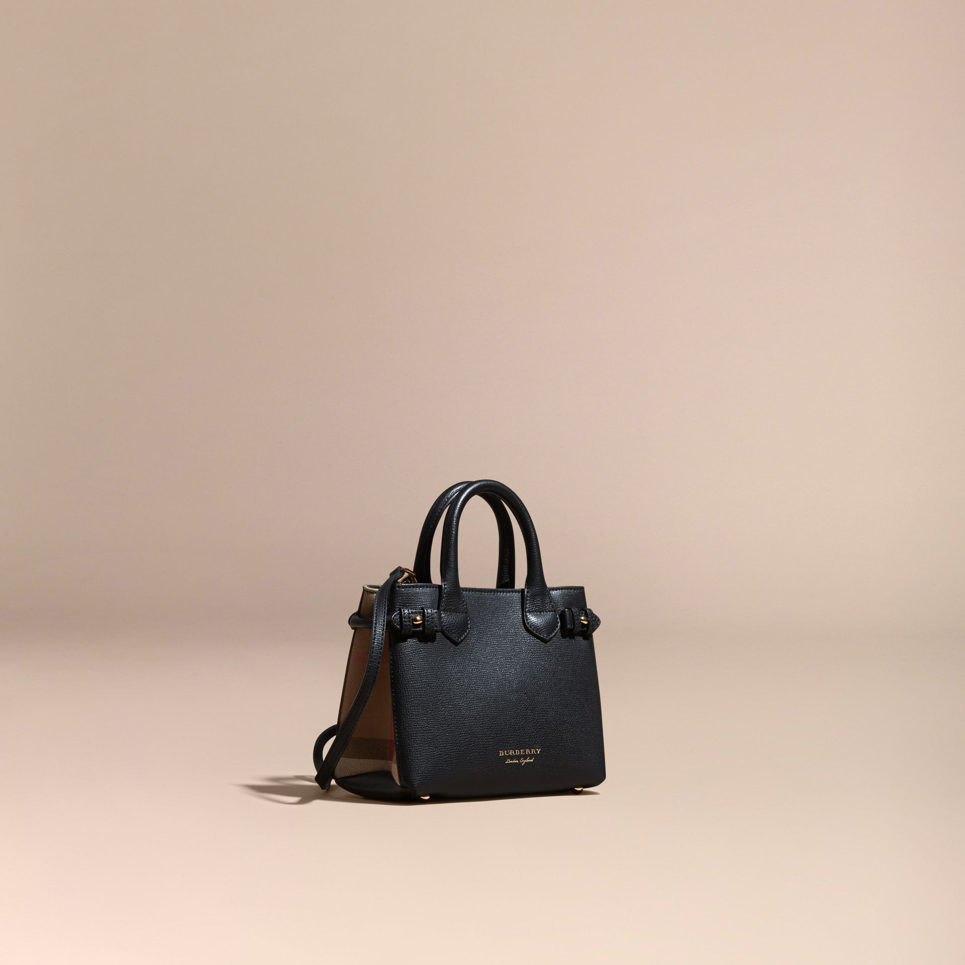 Sac The Baby Banner en cuir et coton House check Noir - photo de la galerie 1
