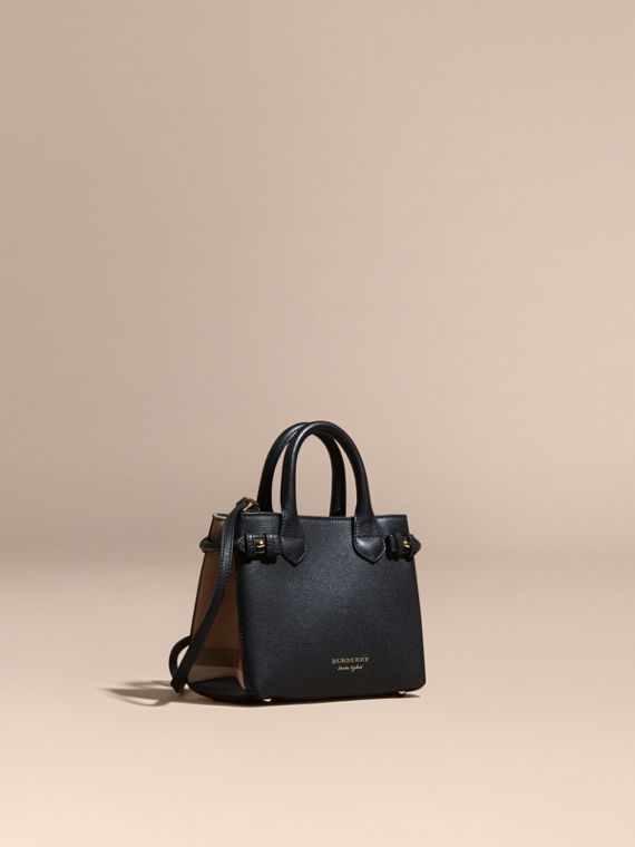 The Baby Banner in Leather and House Check in Black - Women | Burberry Canada