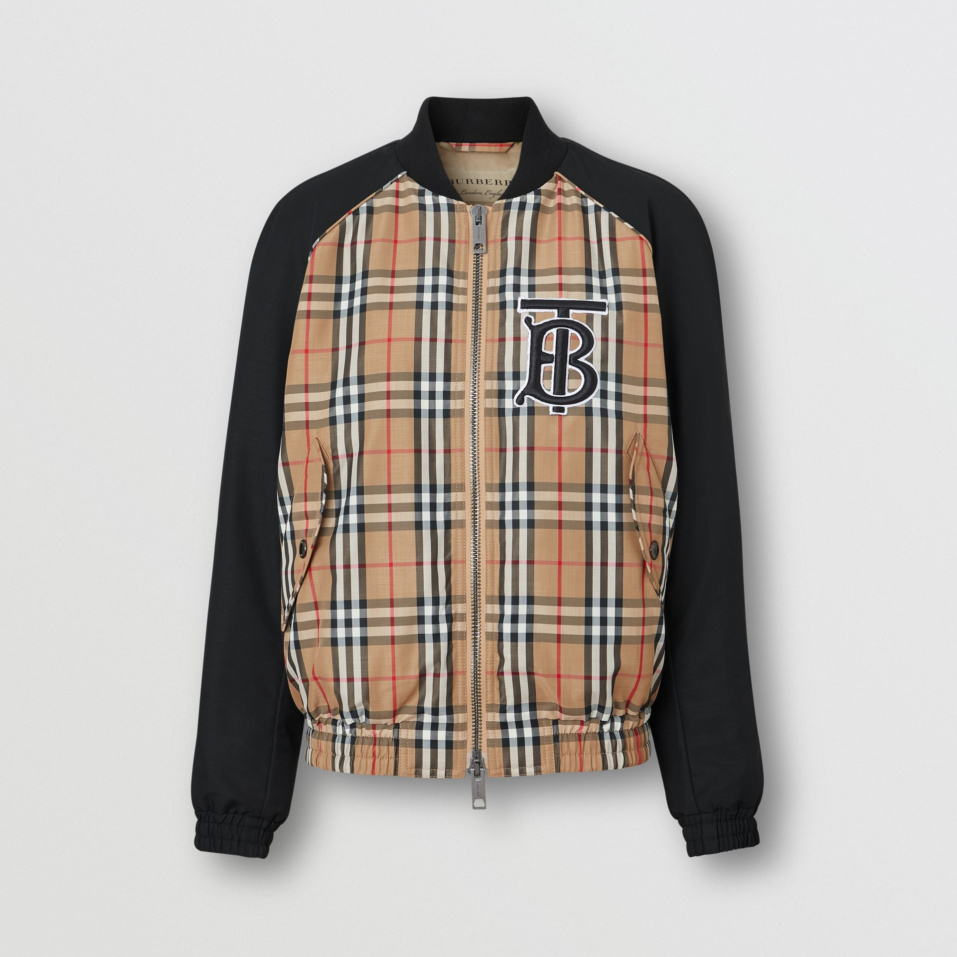 Monogram Motif Vintage Check Bomber Jacket in Black - Women | Burberry Australia - gallery image 3