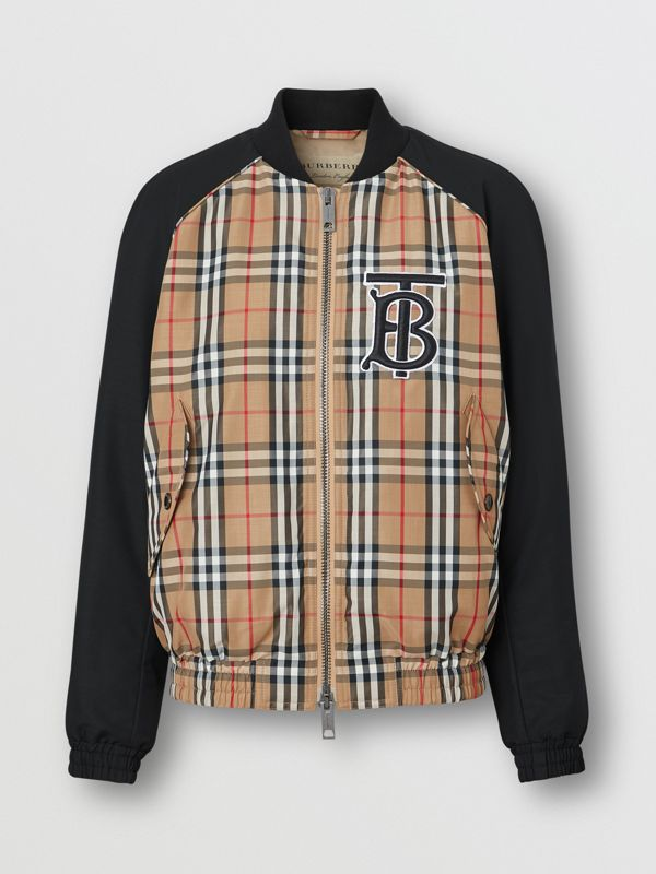 Monogram Motif Vintage Check Bomber Jacket in Black - Women | Burberry United States - cell image 3