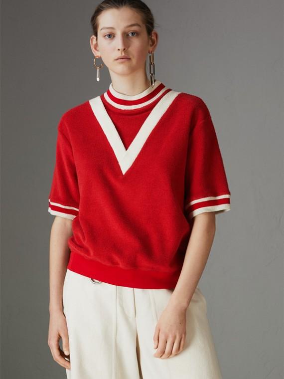 條紋細節設計棉質毛巾布上衣 (軍紅色)