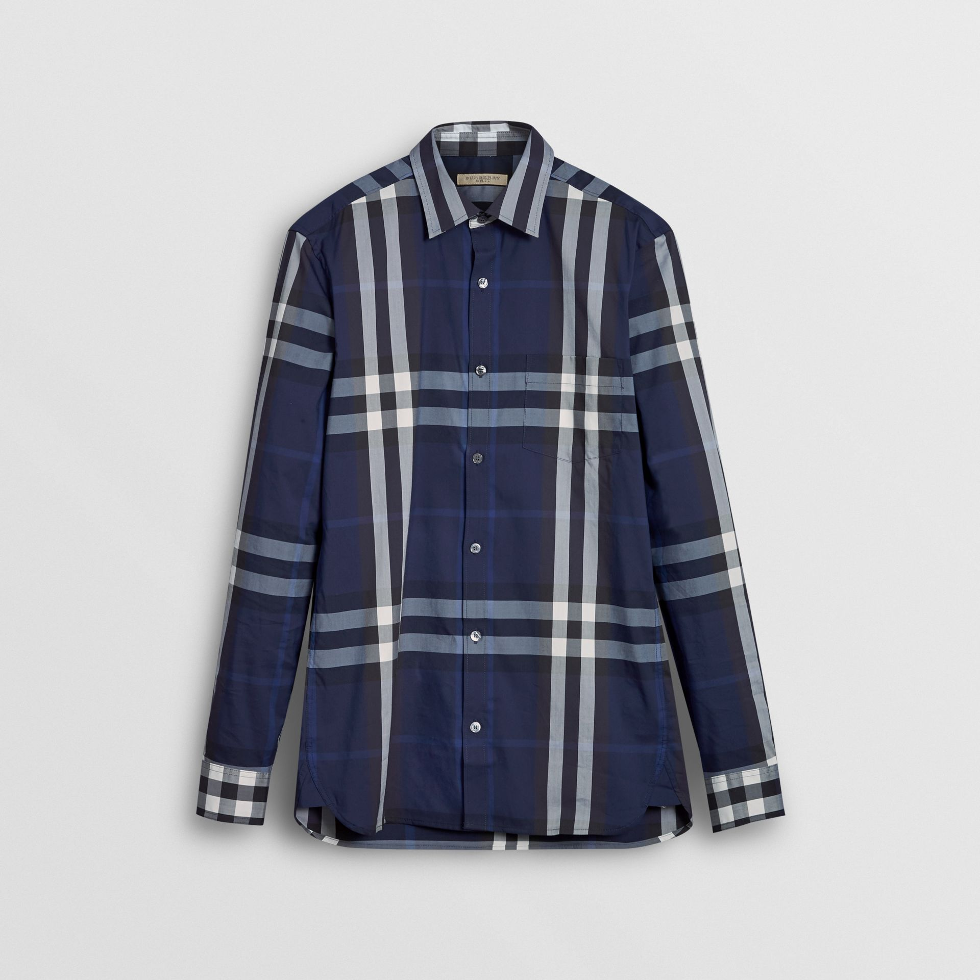 Check Stretch Cotton Shirt in Indigo Blue - Men | Burberry Australia - gallery image 3