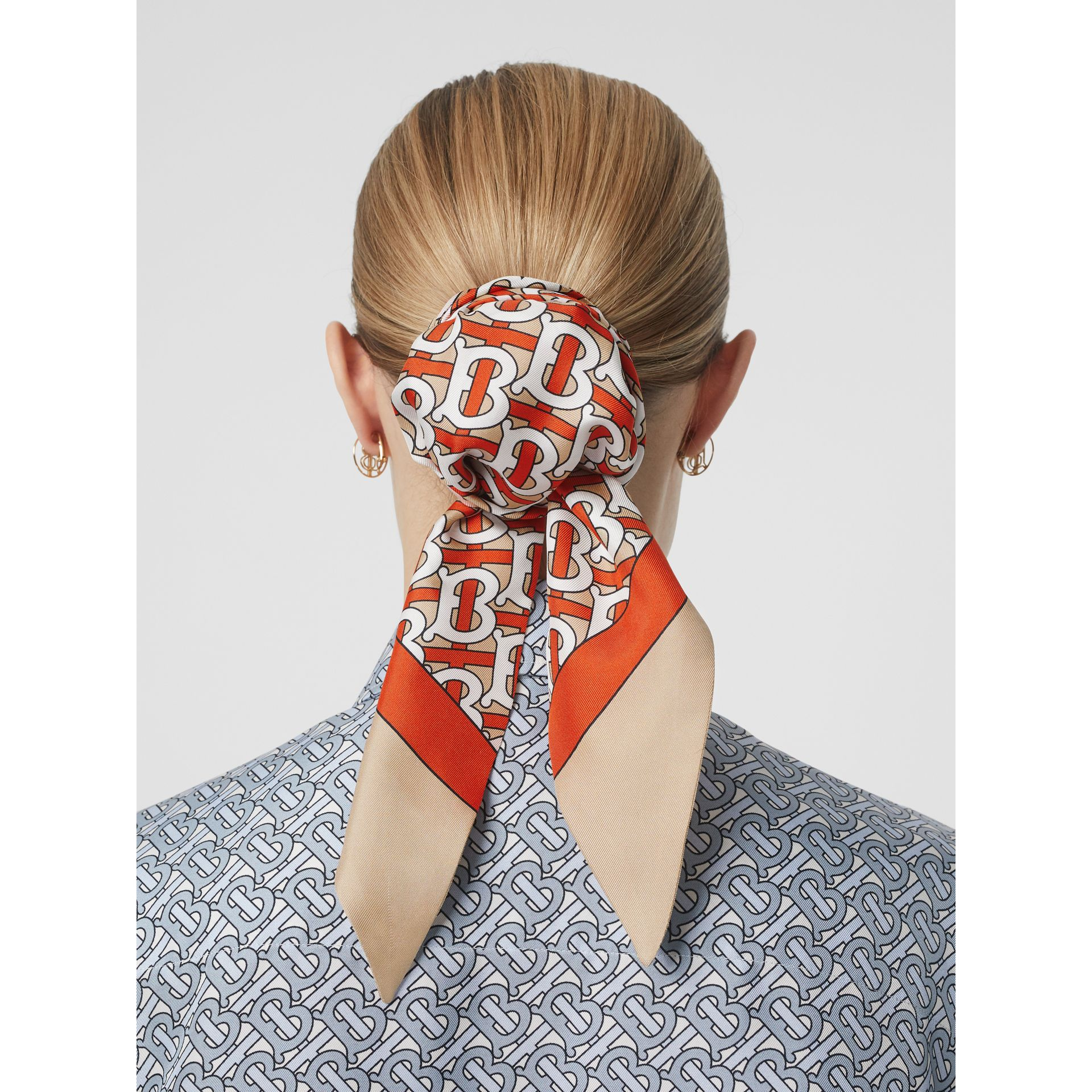 Monogram Print Silk Hair Scarf in Vermilion - Women | Burberry - gallery image 2