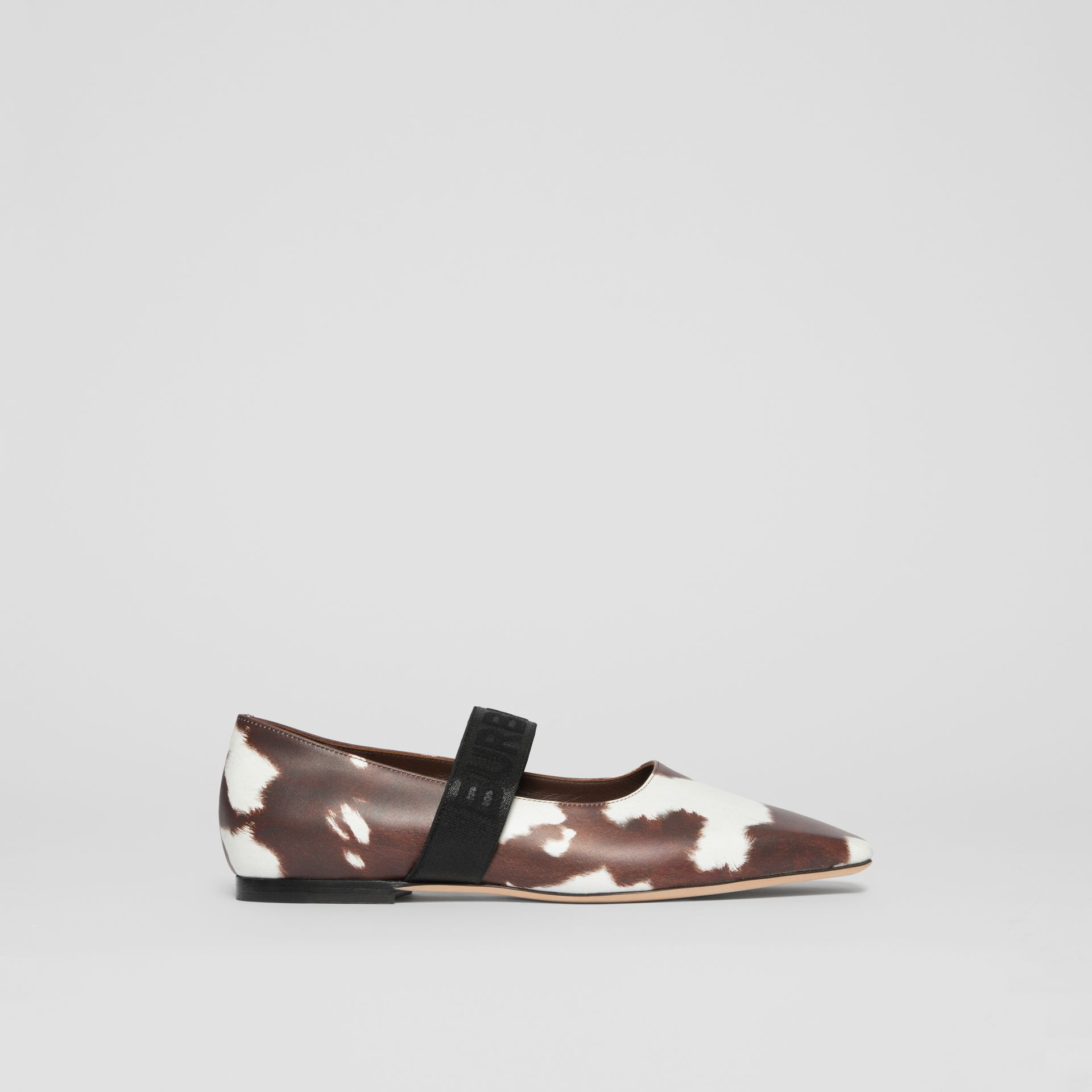 Logo Detail Cow Print Leather Flats - Women | Burberry - gallery image 5