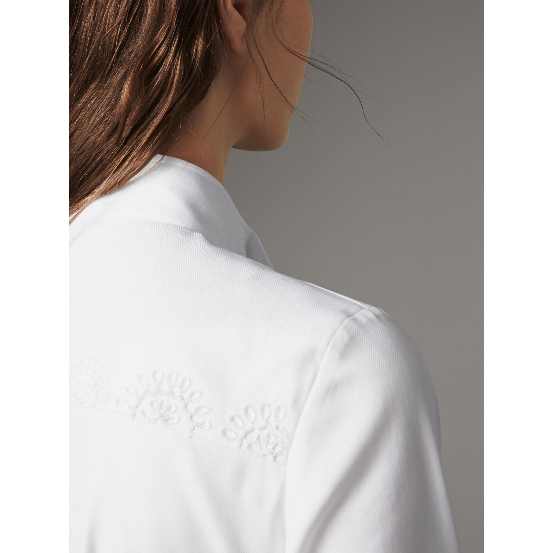 Scalloped Tier Embellished Cotton Shirt in White - Women | Burberry - gallery image 2
