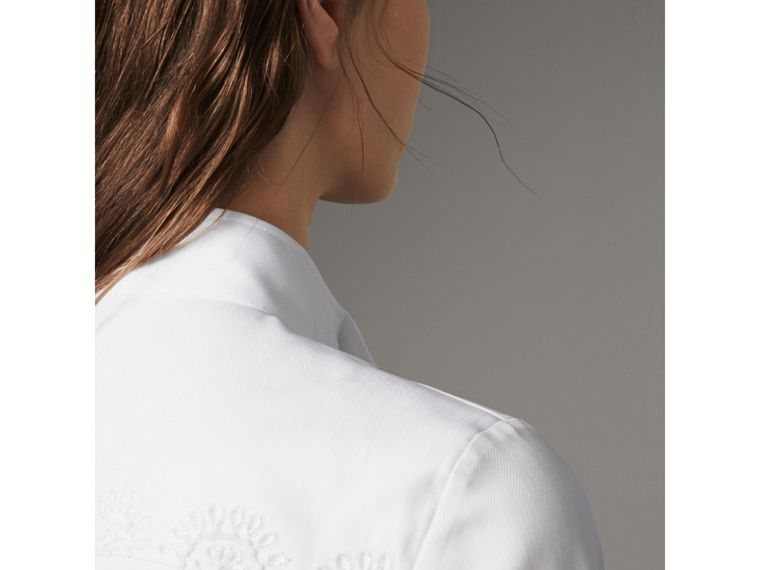Scalloped Tier Embellished Cotton Shirt in White - Women | Burberry - cell image 1