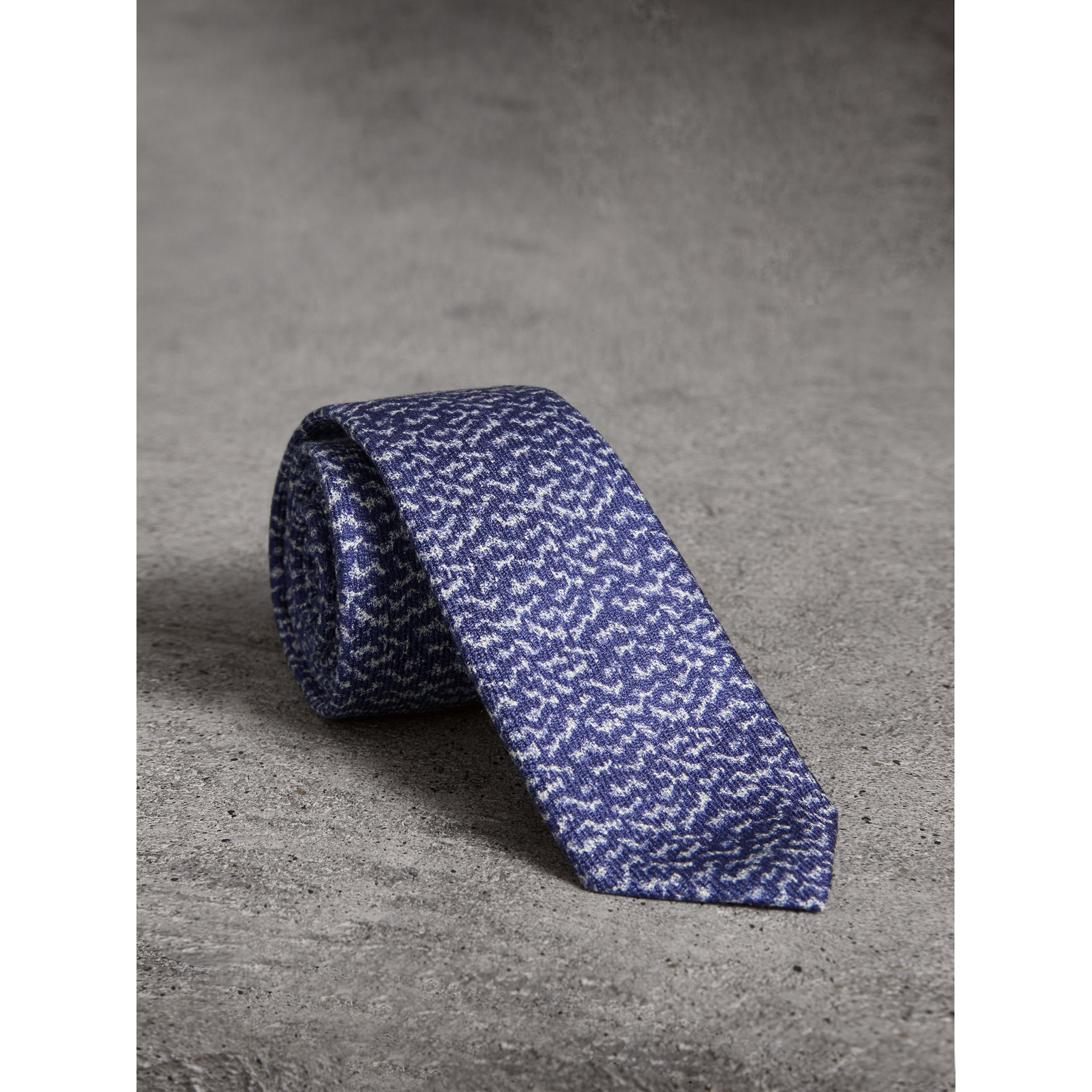 Slim Cut Ripple Print Silk Tie in Cobalt Blue - Men | Burberry - gallery image 0