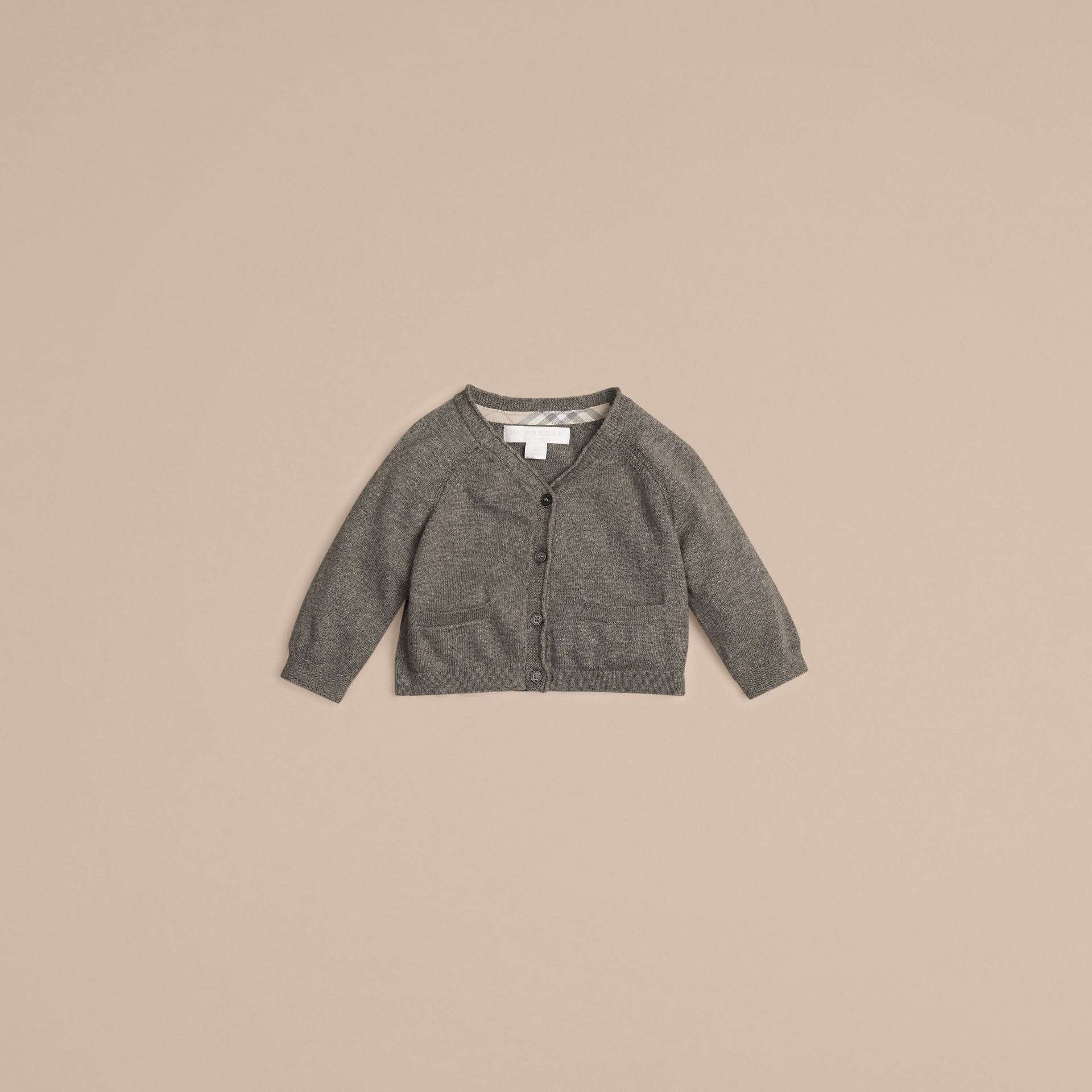 Classic Cotton Cardigan in Mid Grey Melange | Burberry - gallery image 1