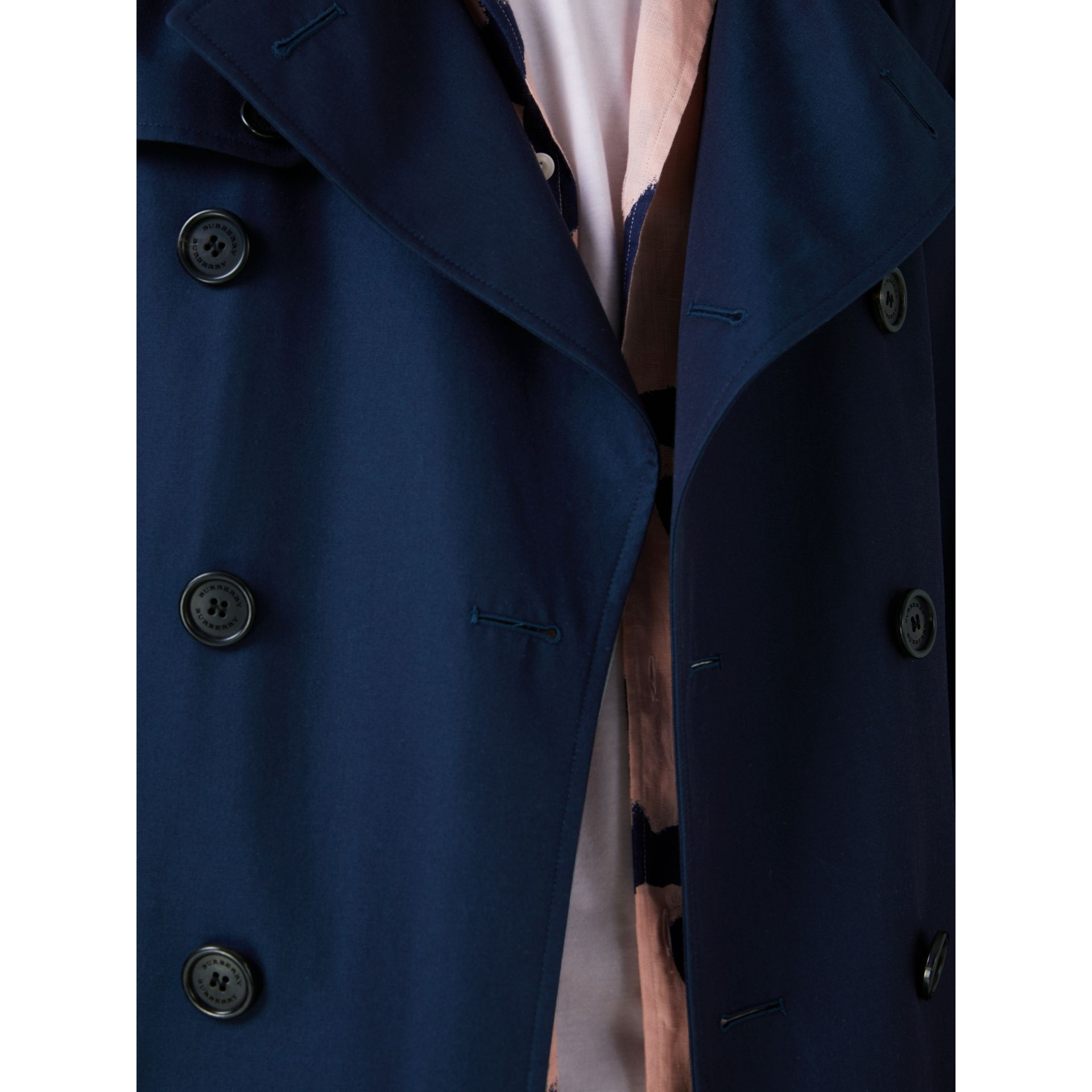Cotton Gabardine Trench Coat in Teal Blue - Men | Burberry Singapore - gallery image 4