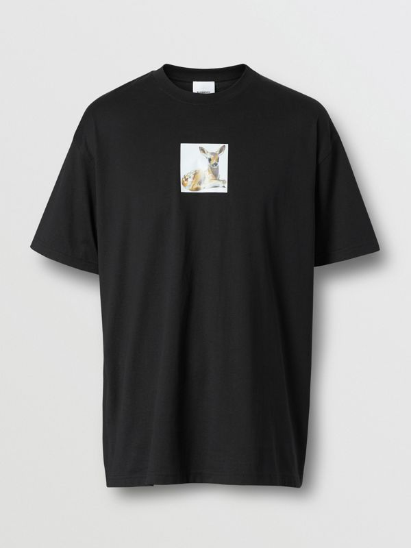 Deer Print Cotton Oversized T-shirt in Black - Men | Burberry - cell image 3
