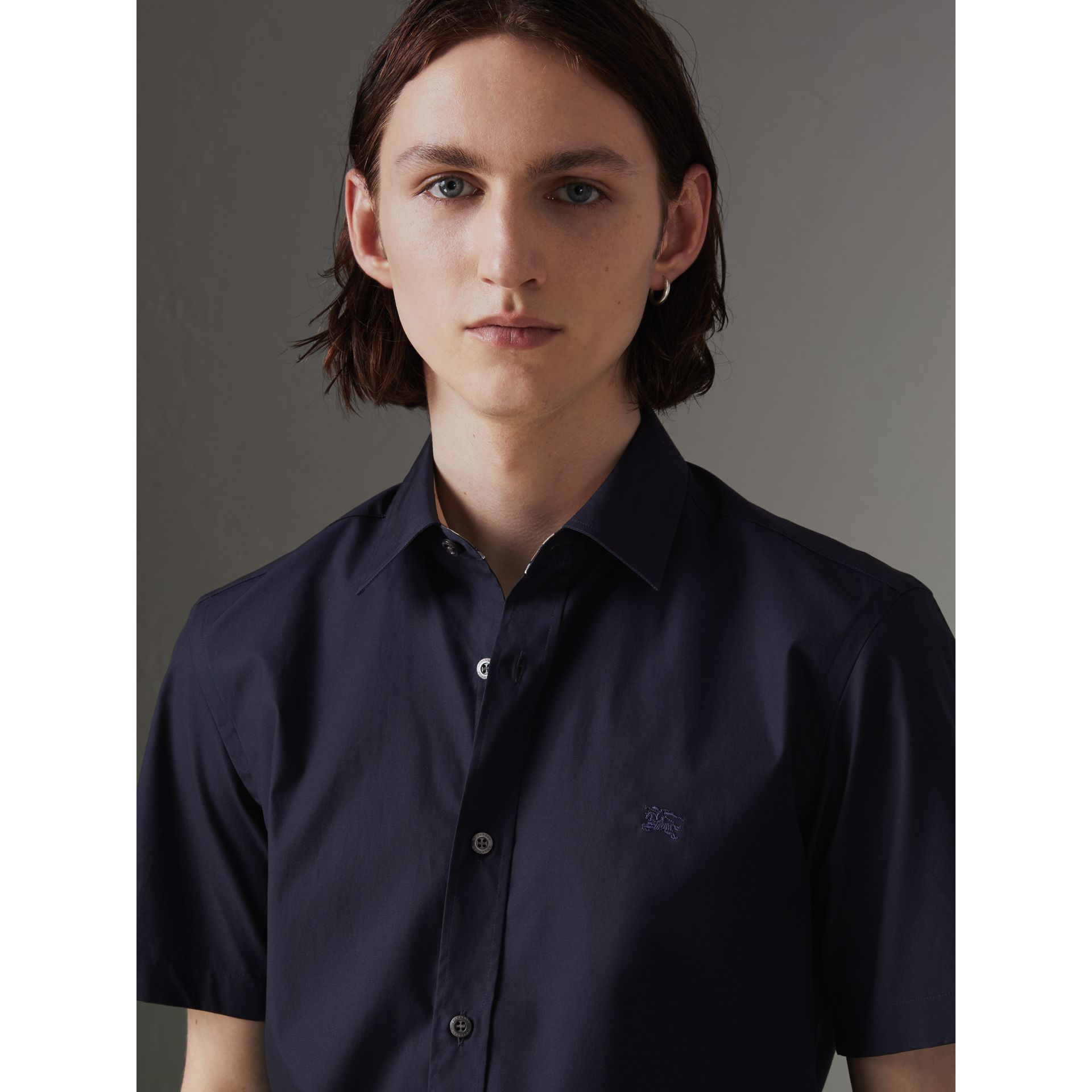 Short-sleeve Stretch Cotton Shirt in Navy - Men | Burberry Australia - gallery image 1