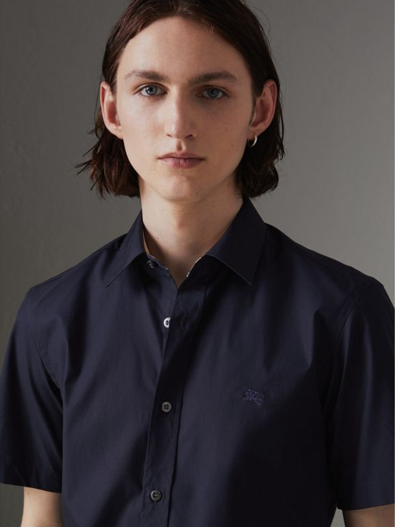 Short-sleeve Stretch Cotton Shirt in Navy - Men | Burberry - cell image 1