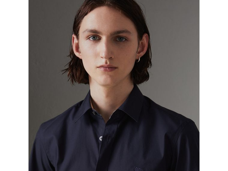 Short-sleeve Stretch Cotton Shirt in Navy - Men | Burberry Australia - cell image 1