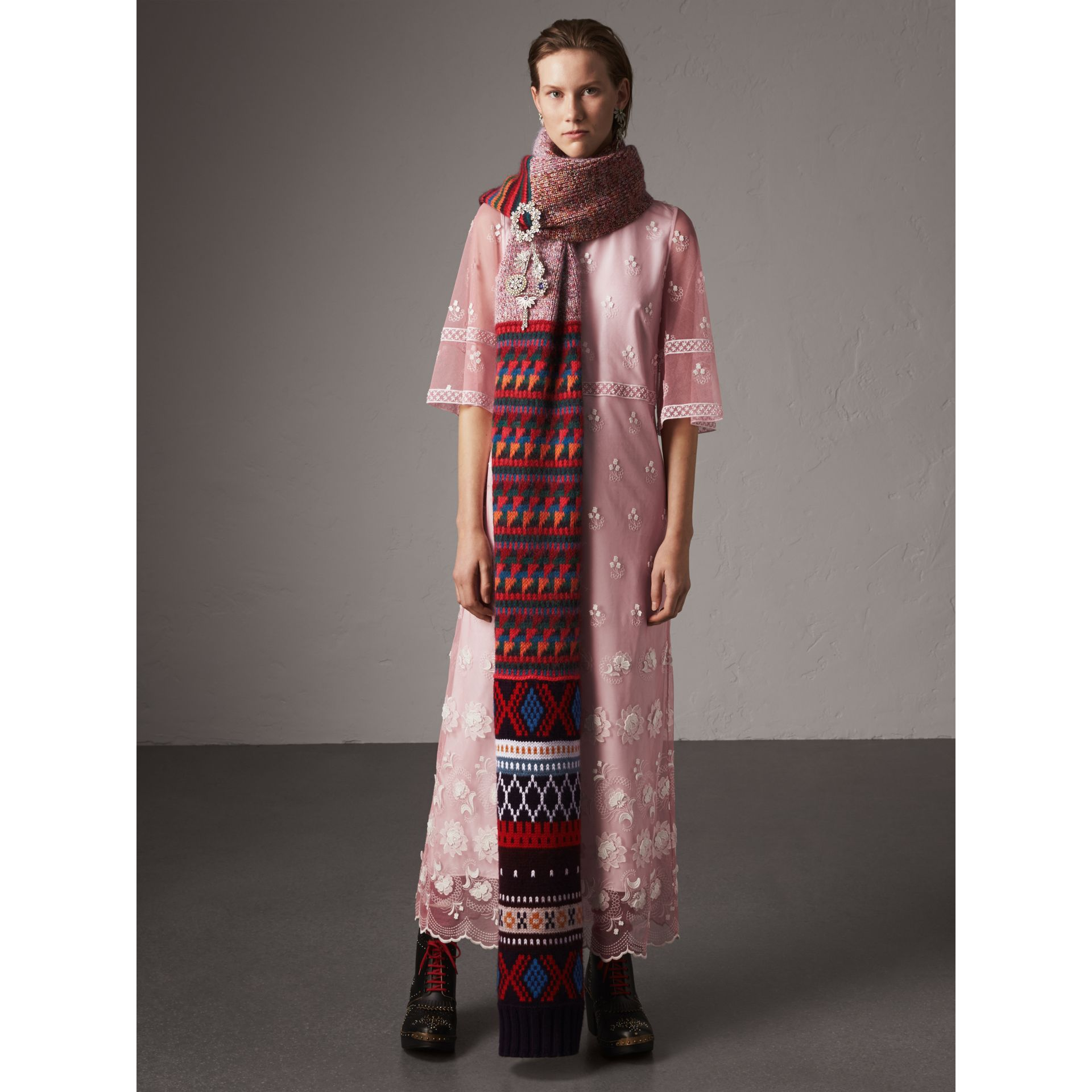 Flare-sleeve Embroidered Tulle Dress in Rose Pink/white - Women | Burberry United Kingdom - gallery image 4