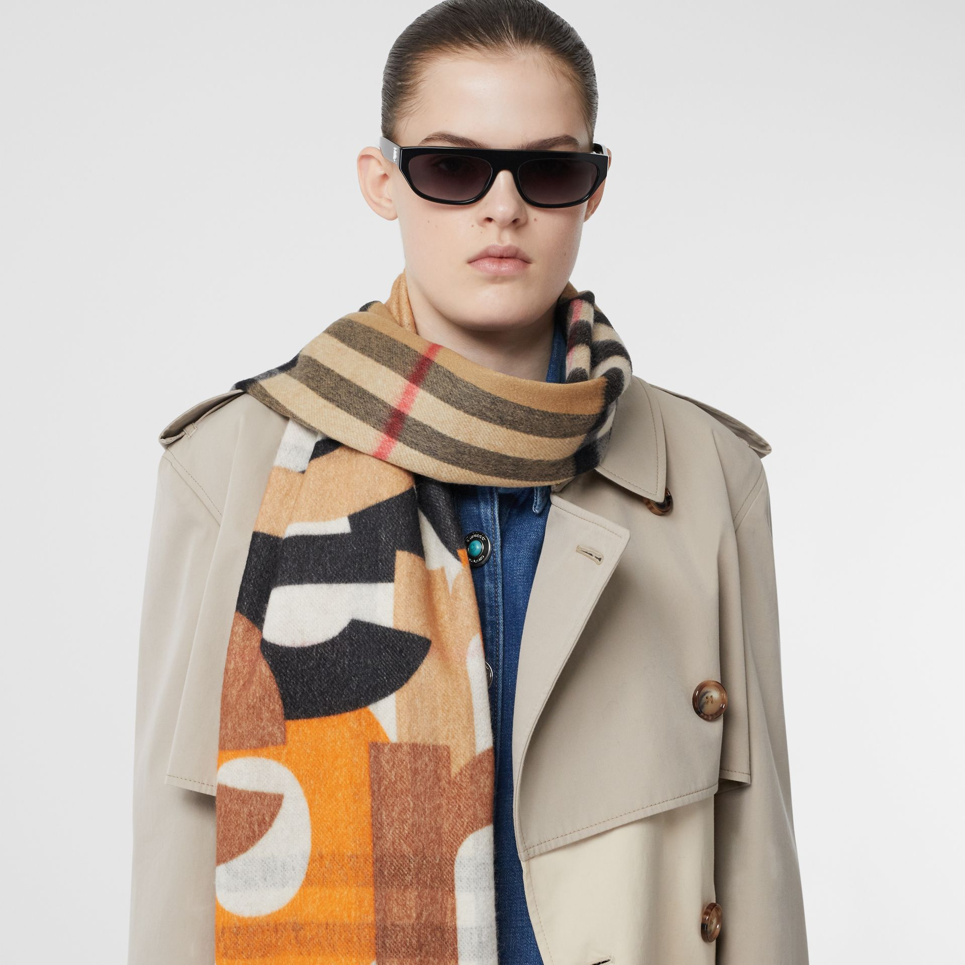 Block Print Check Cashmere Scarf in Walnut | Burberry - gallery image 2