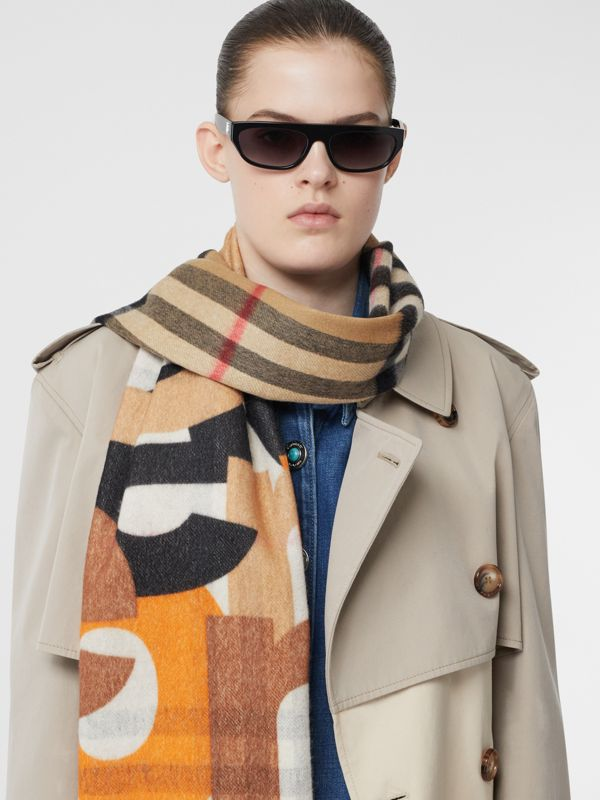 Block Print Check Cashmere Scarf in Walnut | Burberry - cell image 2