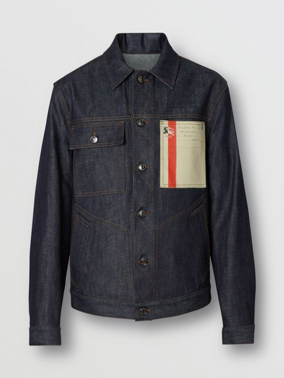 Postcard Motif Japanese Selvedge Denim Jacket in Mid Indigo