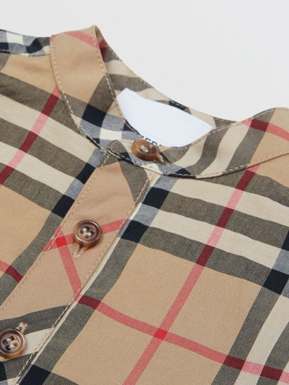 Vintage Check Cotton Jumpsuit in Archive Beige - Children | Burberry United Kingdom - cell image 1