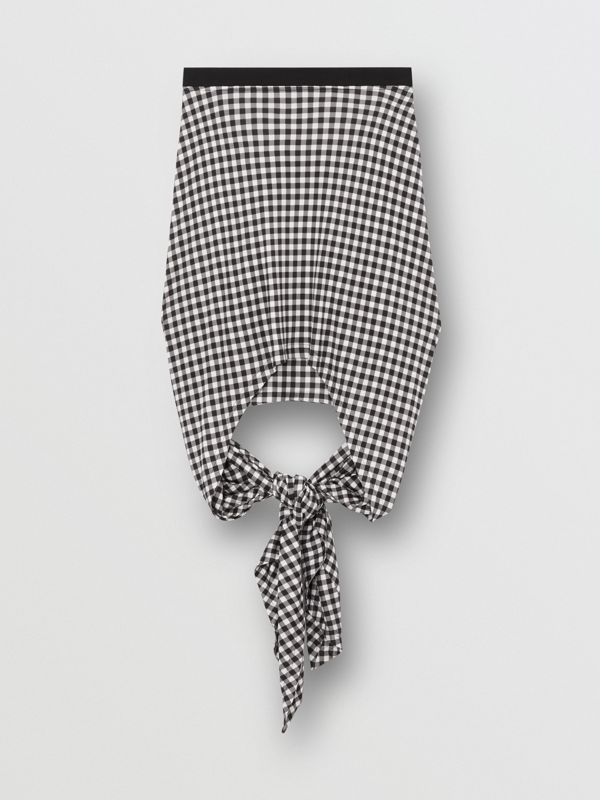 Scarf-tie Detail Gingham Mini Skirt in Black - Women | Burberry - cell image 3