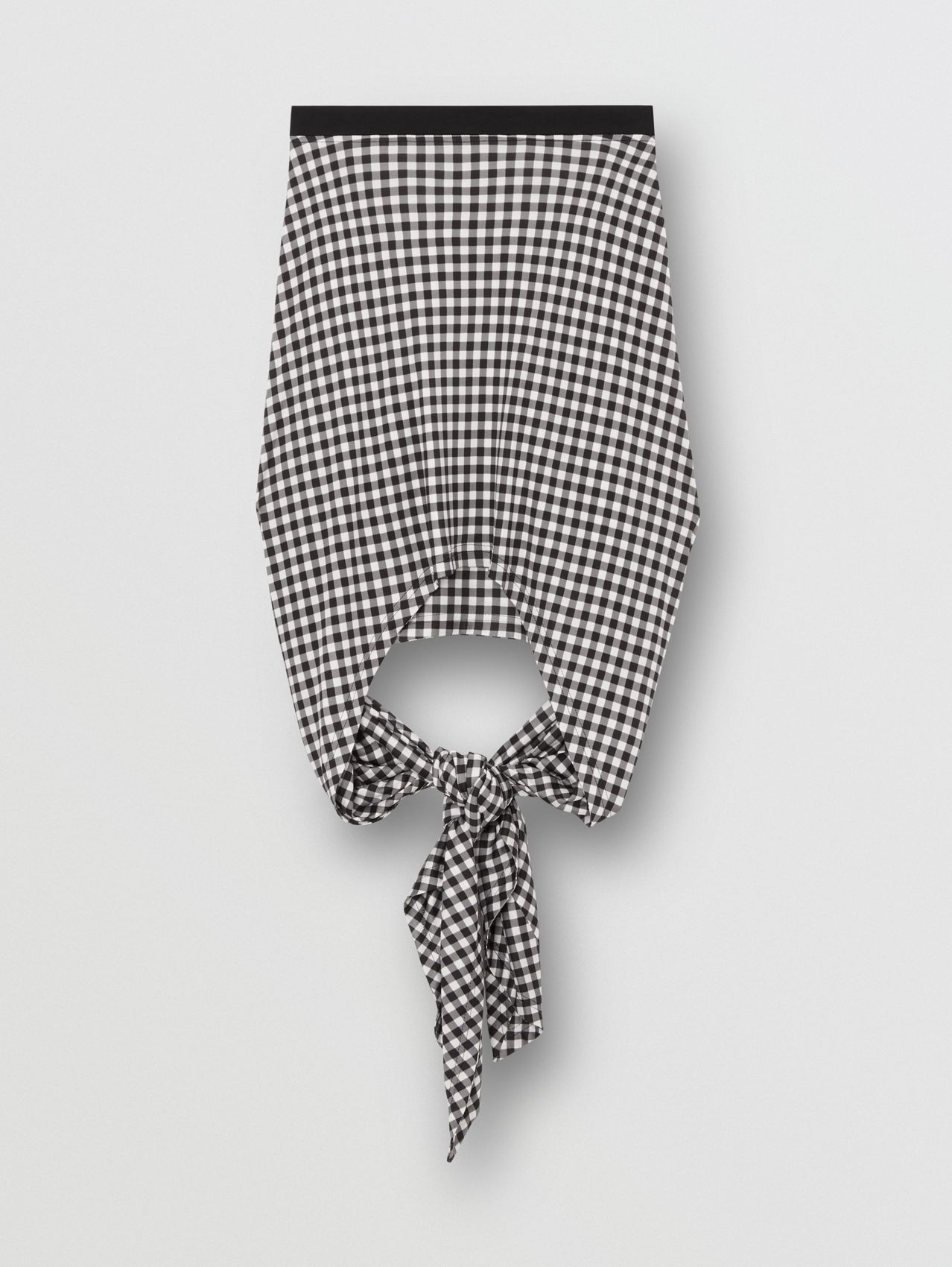 Scarf-tie Detail Gingham Mini Skirt in Black