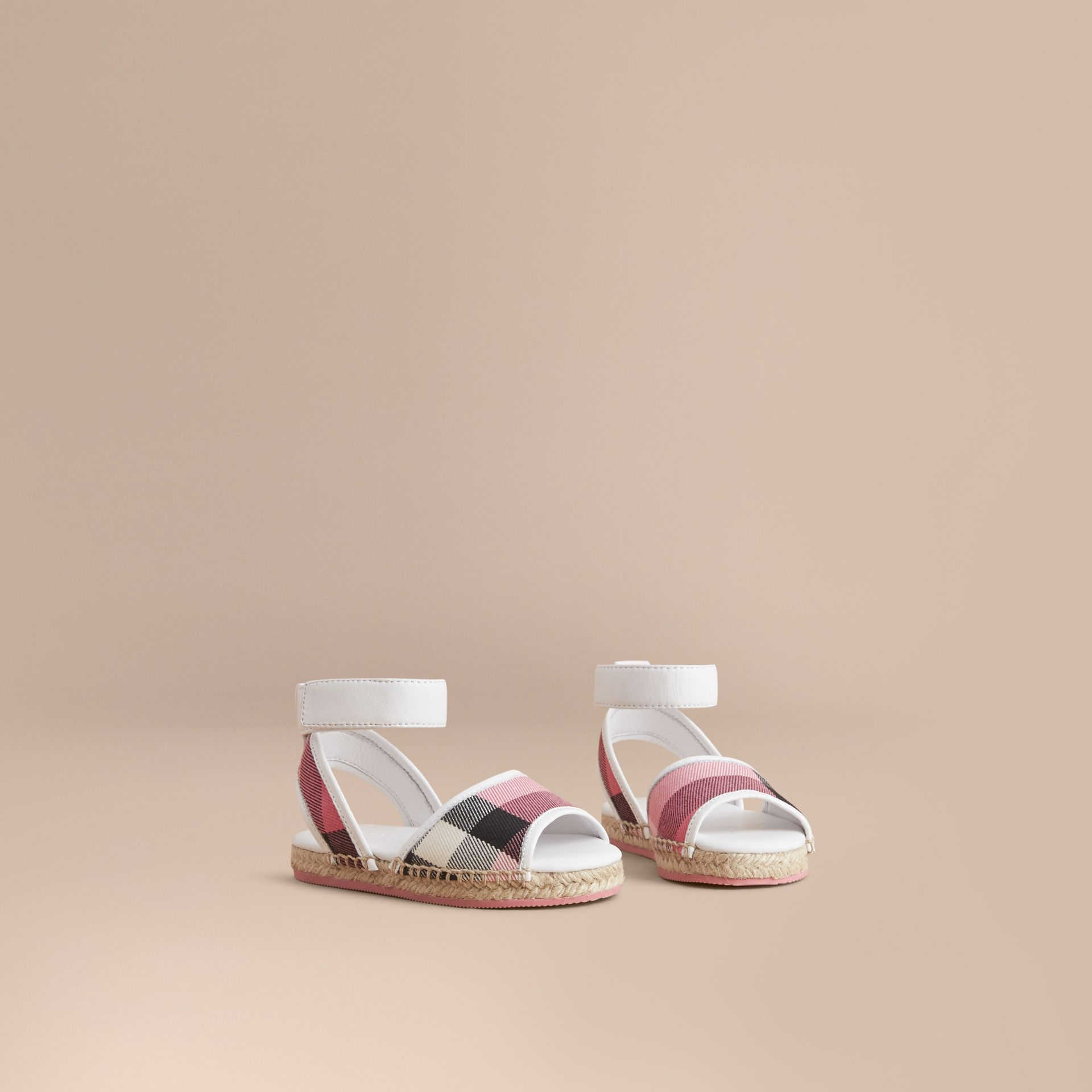 Leather Ankle Strap and House Check Espadrille Sandals in Rose Pink - Children | Burberry Canada - gallery image 1