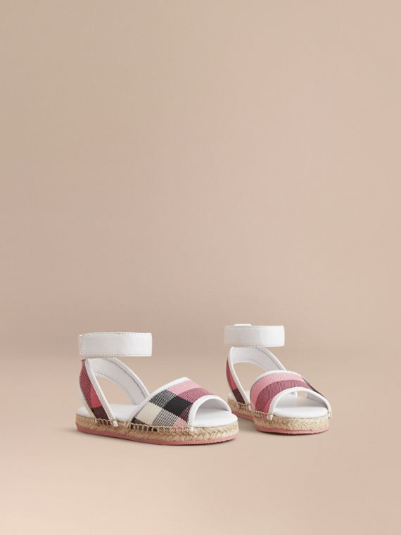 Leather Ankle Strap and House Check Espadrille Sandals in Rose Pink