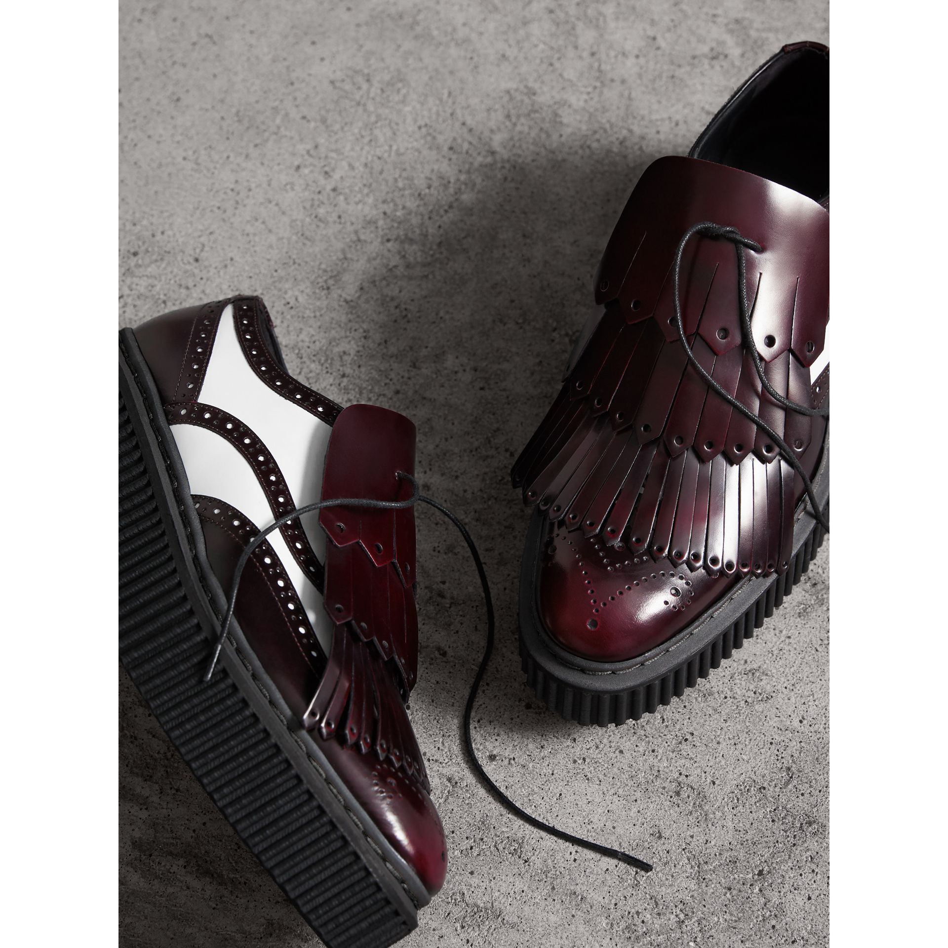 Two-tone Lace-up Kiltie Fringe Leather Shoes in Bordeaux - Women | Burberry United Kingdom - gallery image 4