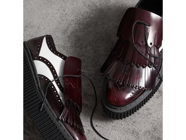 Two-tone Lace-up Kiltie Fringe Leather Shoes in Bordeaux - Women | Burberry United Kingdom - cell image 4