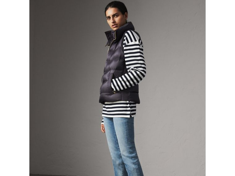 Down-filled Gilet in Blue Black - Women | Burberry - cell image 4