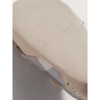 Burberry - Chaussures en cuir et coton à motif check avec franges - 2