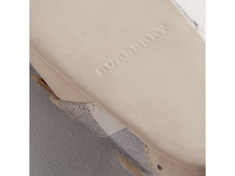 Fringe Detail Check Cotton and Leather Shoes in Cream | Burberry - cell image 1