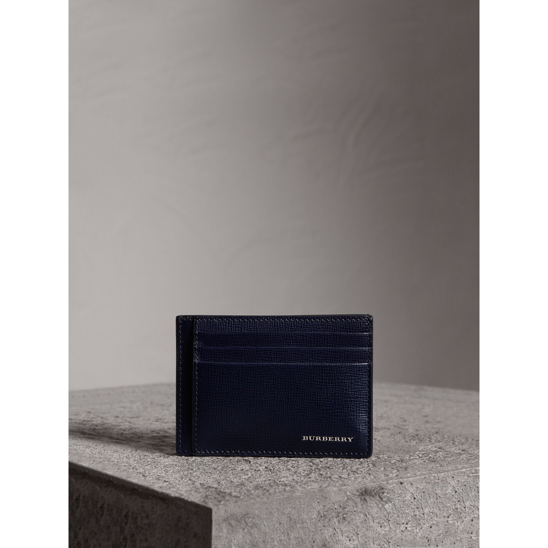 London Leather Money Clip Card Case in Dark Navy - Men | Burberry - gallery image 4