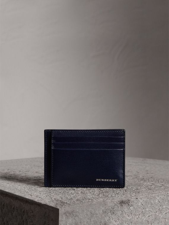 London Leather Money Clip Card Case in Dark Navy - Men | Burberry Canada - cell image 3