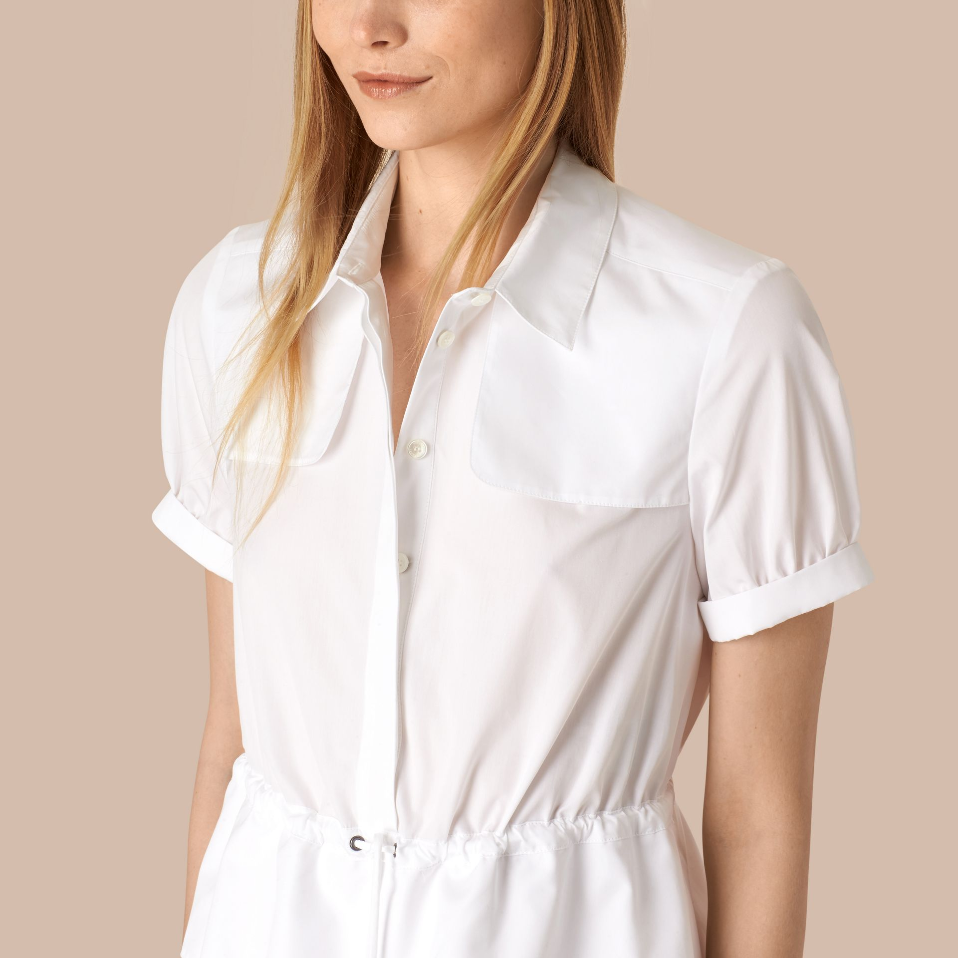 White Peplum Detail Cotton Shirt Dress - gallery image 2