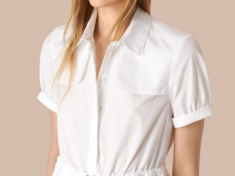 White Peplum Detail Cotton Shirt Dress - cell image 1
