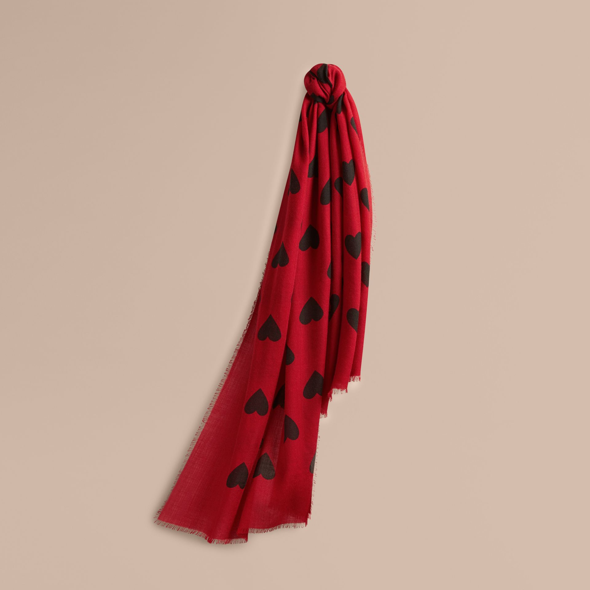 Parade red/black The Lightweight Cashmere Scarf in Heart Print Parade Red/black - gallery image 6
