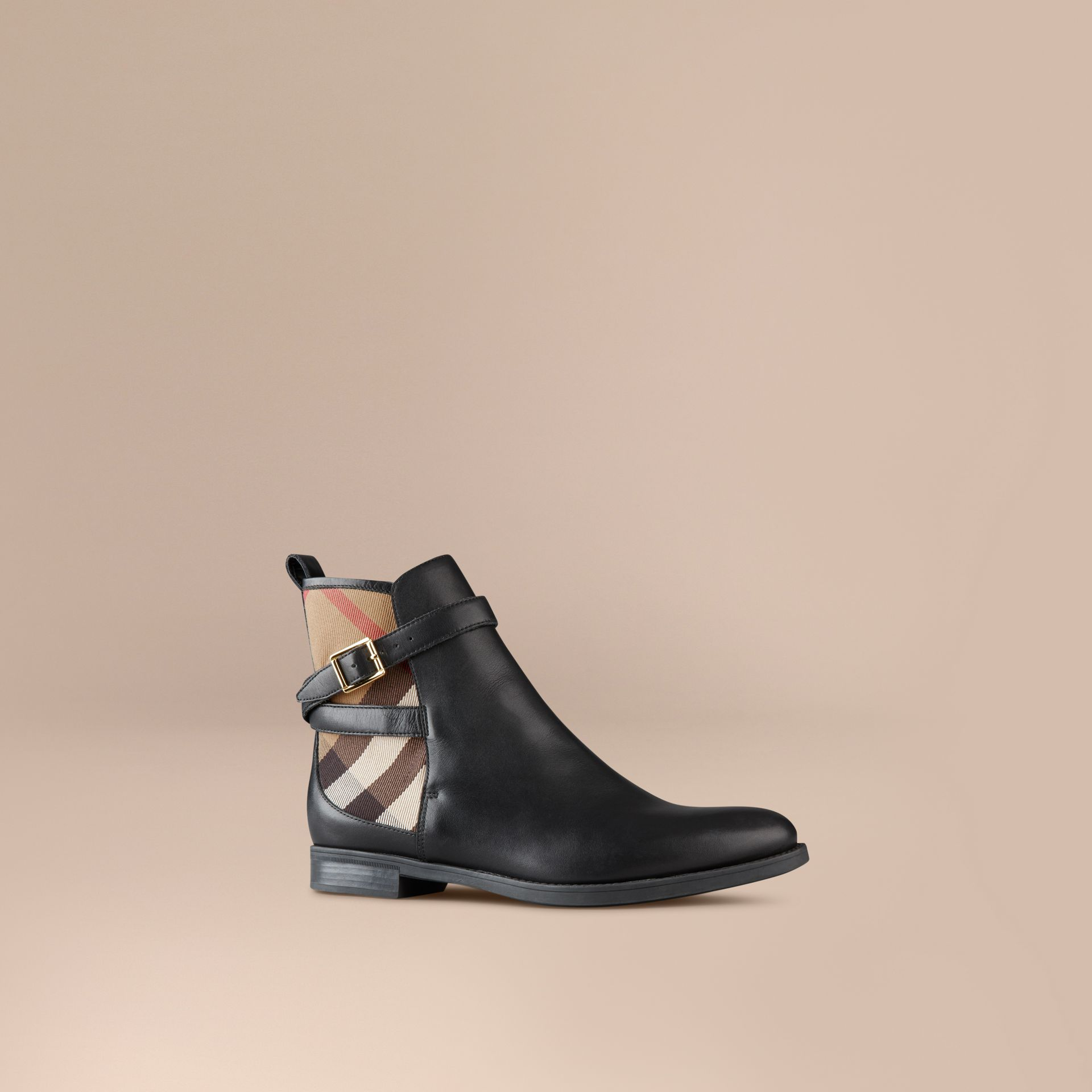 Black House Check Leather Ankle Boots Black - gallery image 1