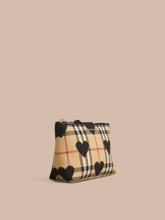 Medium Leather Trim Check and Heart Pouch Black