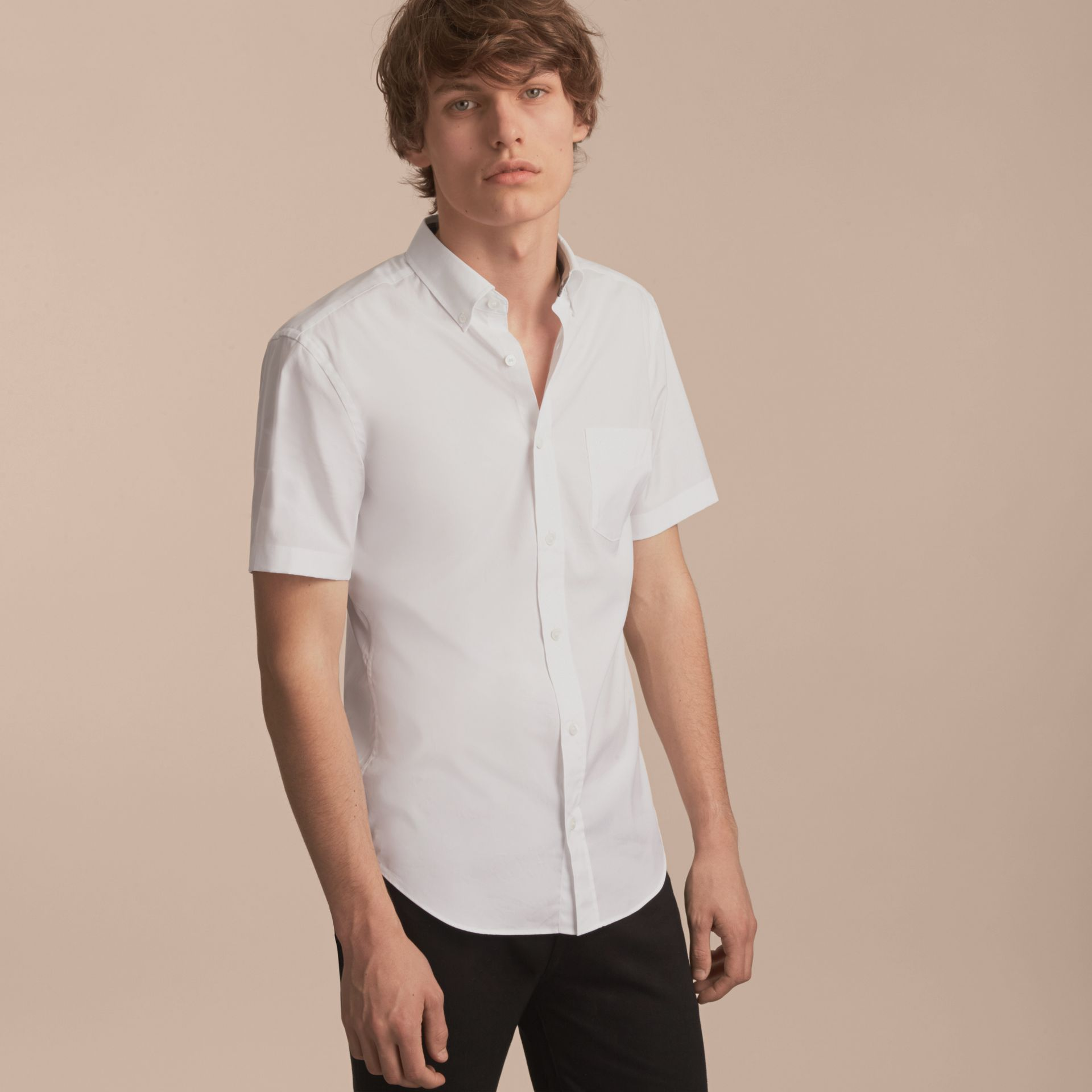 Short-sleeved Stretch Cotton Poplin Shirt in White - Men | Burberry - gallery image 6