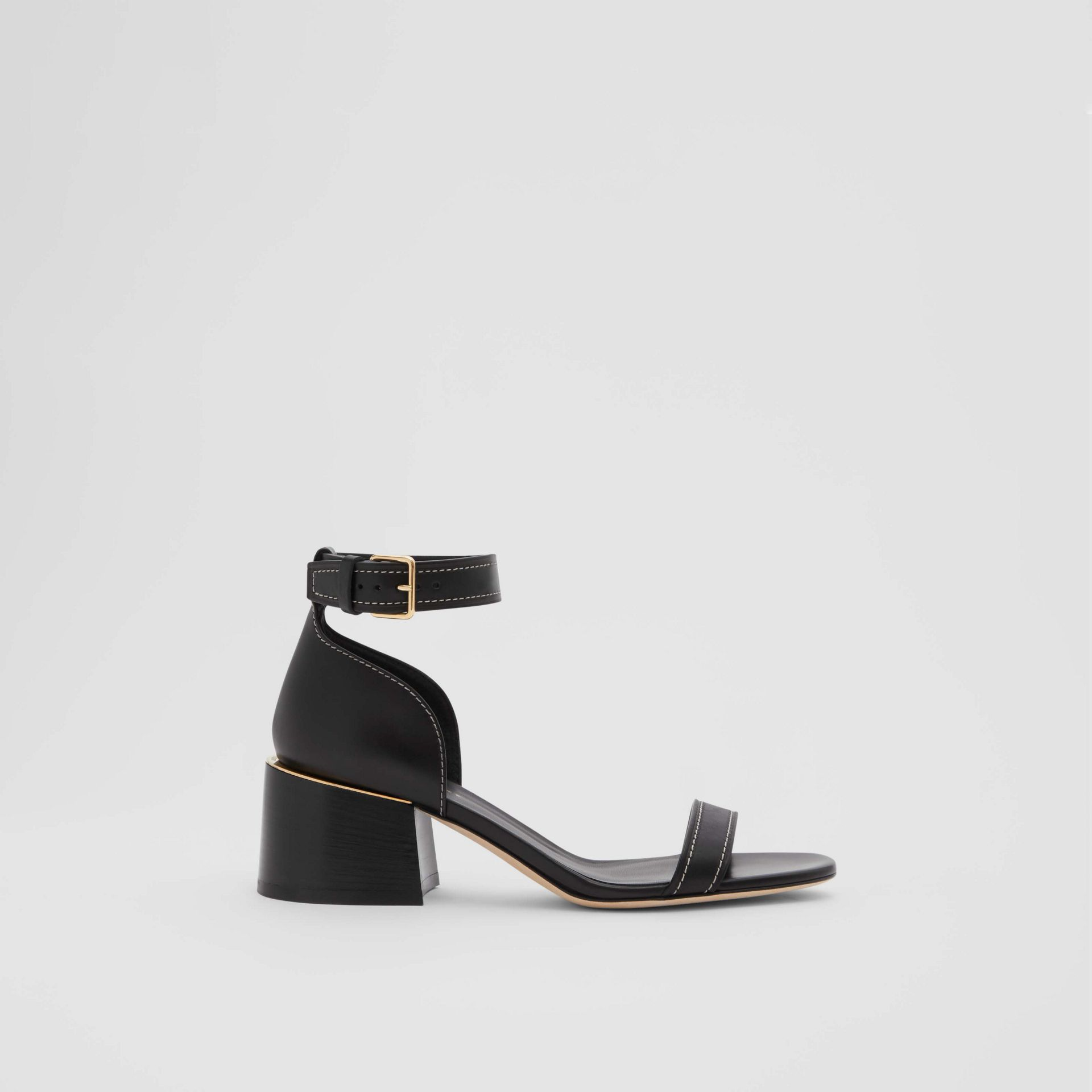 Gold-plated Detail Leather Block-heel Sandals in Black - Women | Burberry - gallery image 4