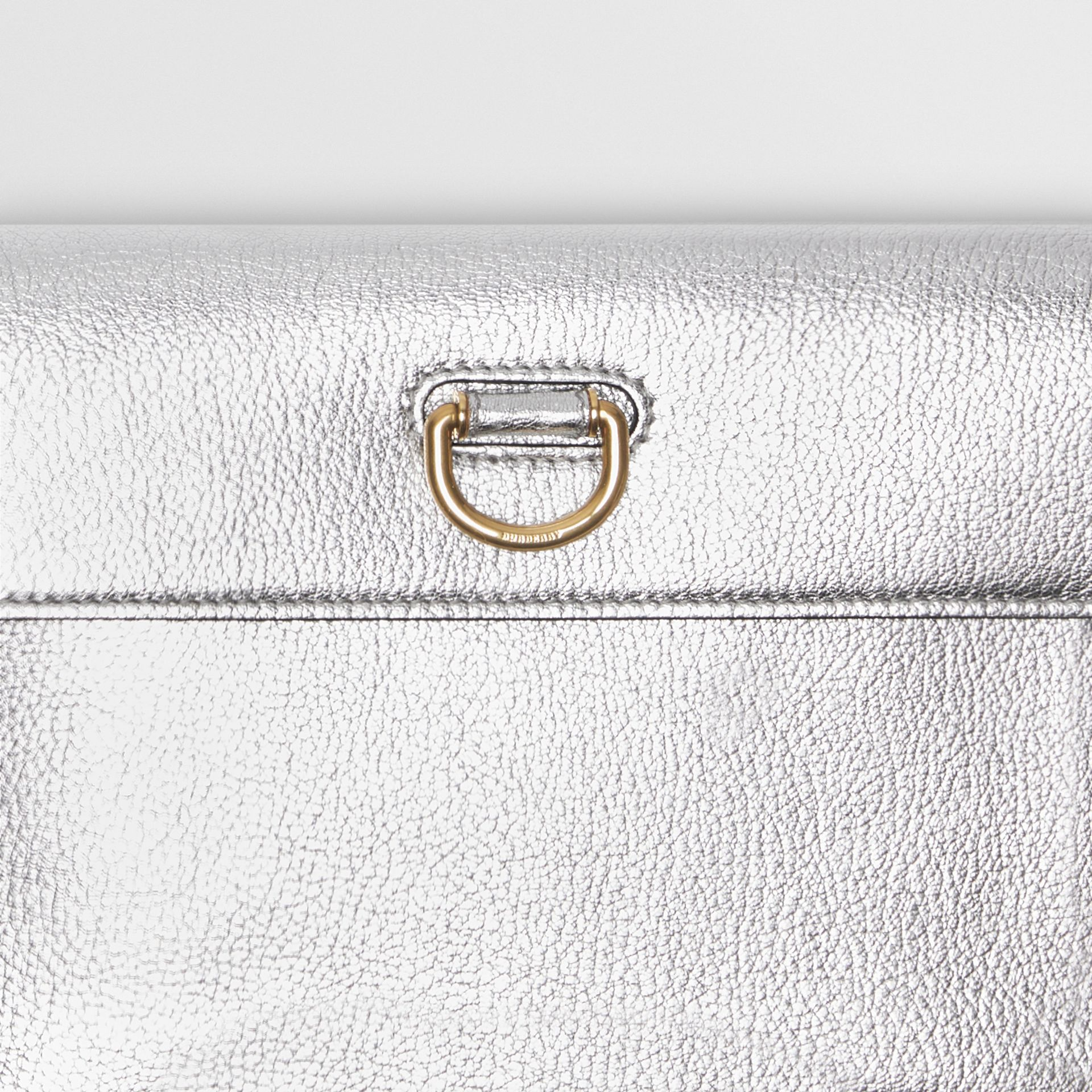 D-ring Metallic Leather Pouch with Zip Coin Case in Silver - Women | Burberry - gallery image 1