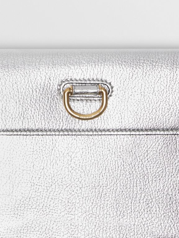 D-ring Metallic Leather Pouch with Zip Coin Case in Silver - Women | Burberry - cell image 1