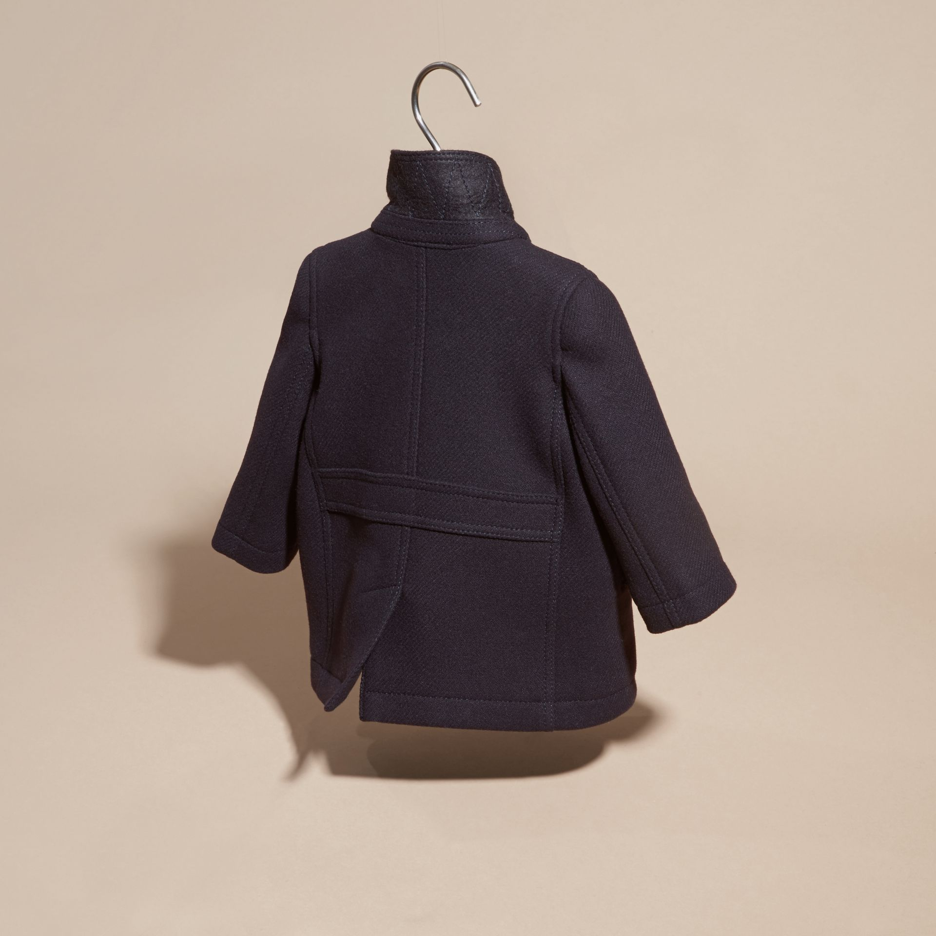 Navy Wool Cashmere Pea Coat - gallery image 4