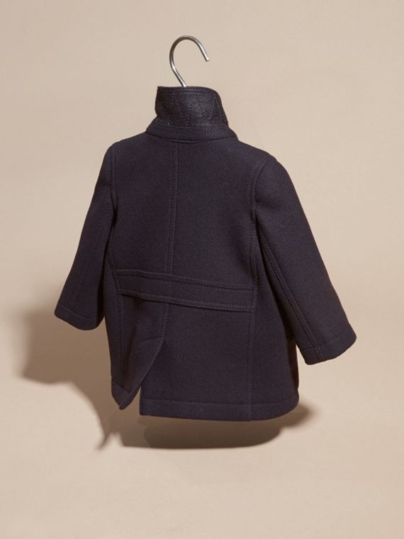 Navy Wool Cashmere Pea Coat - cell image 3