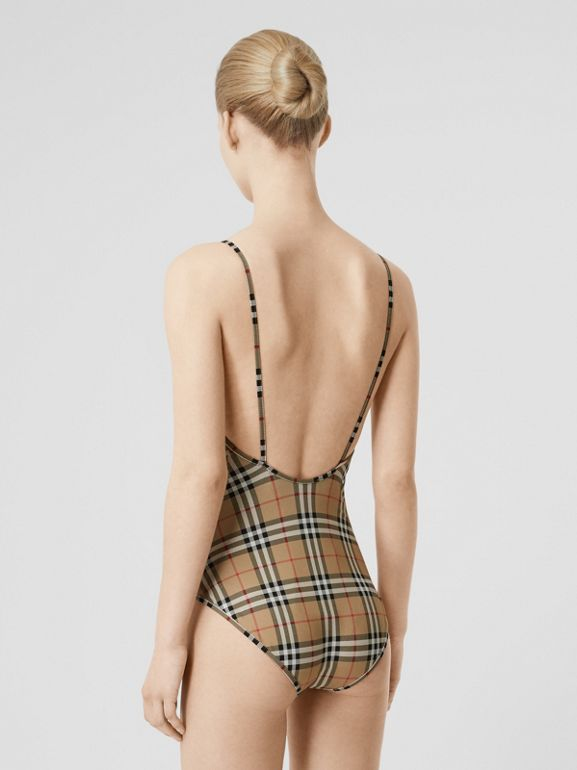 Vintage Check Swimsuit in Archive Beige - Women | Burberry Hong Kong S.A.R - cell image 1