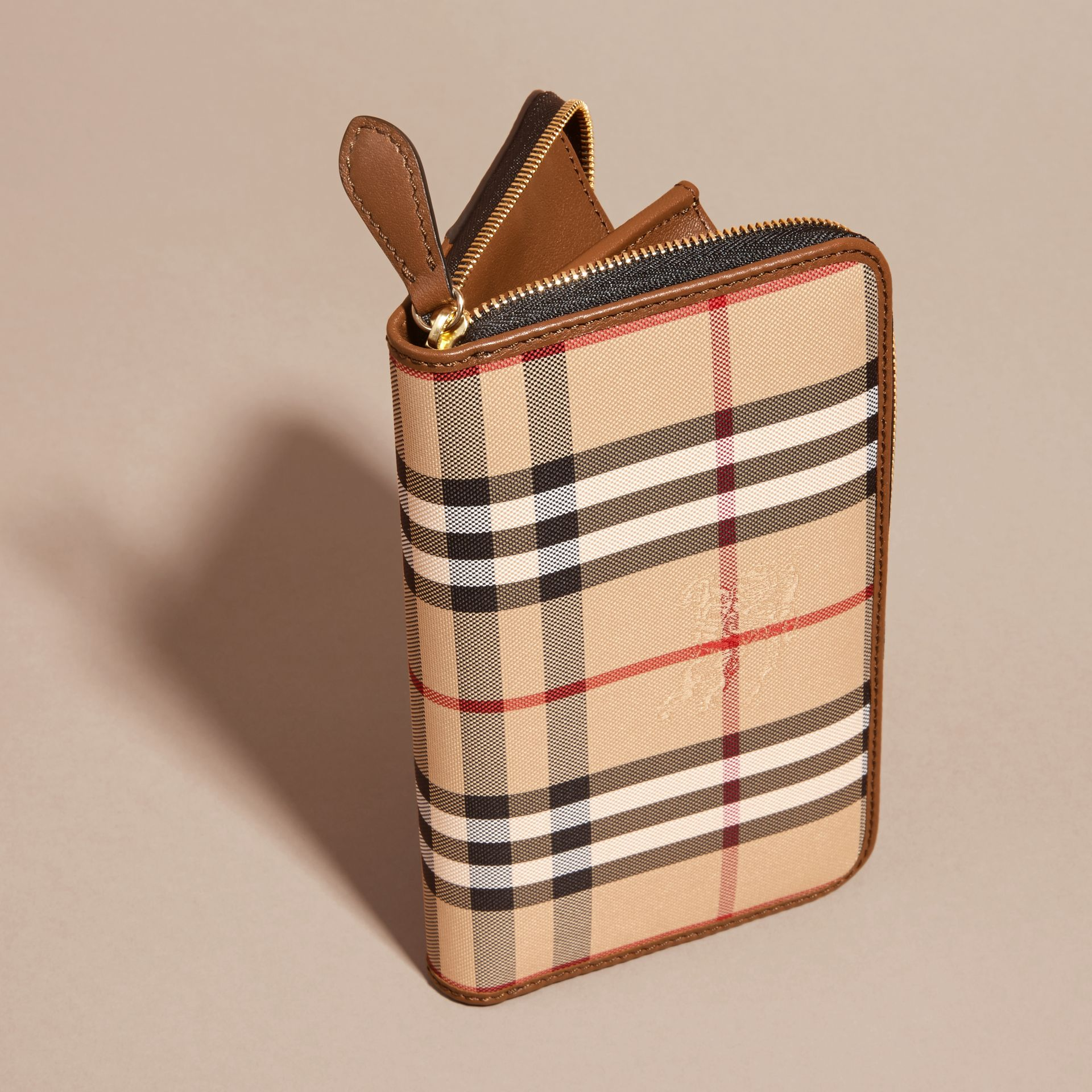 Horseferry Check and Leather Ziparound Wallet in Tan - Women | Burberry - gallery image 4