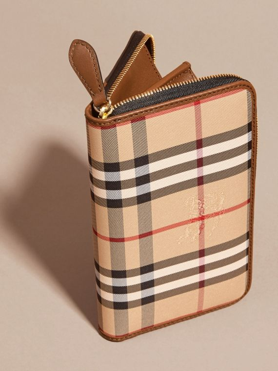 Horseferry Check and Leather Ziparound Wallet in Tan - cell image 3