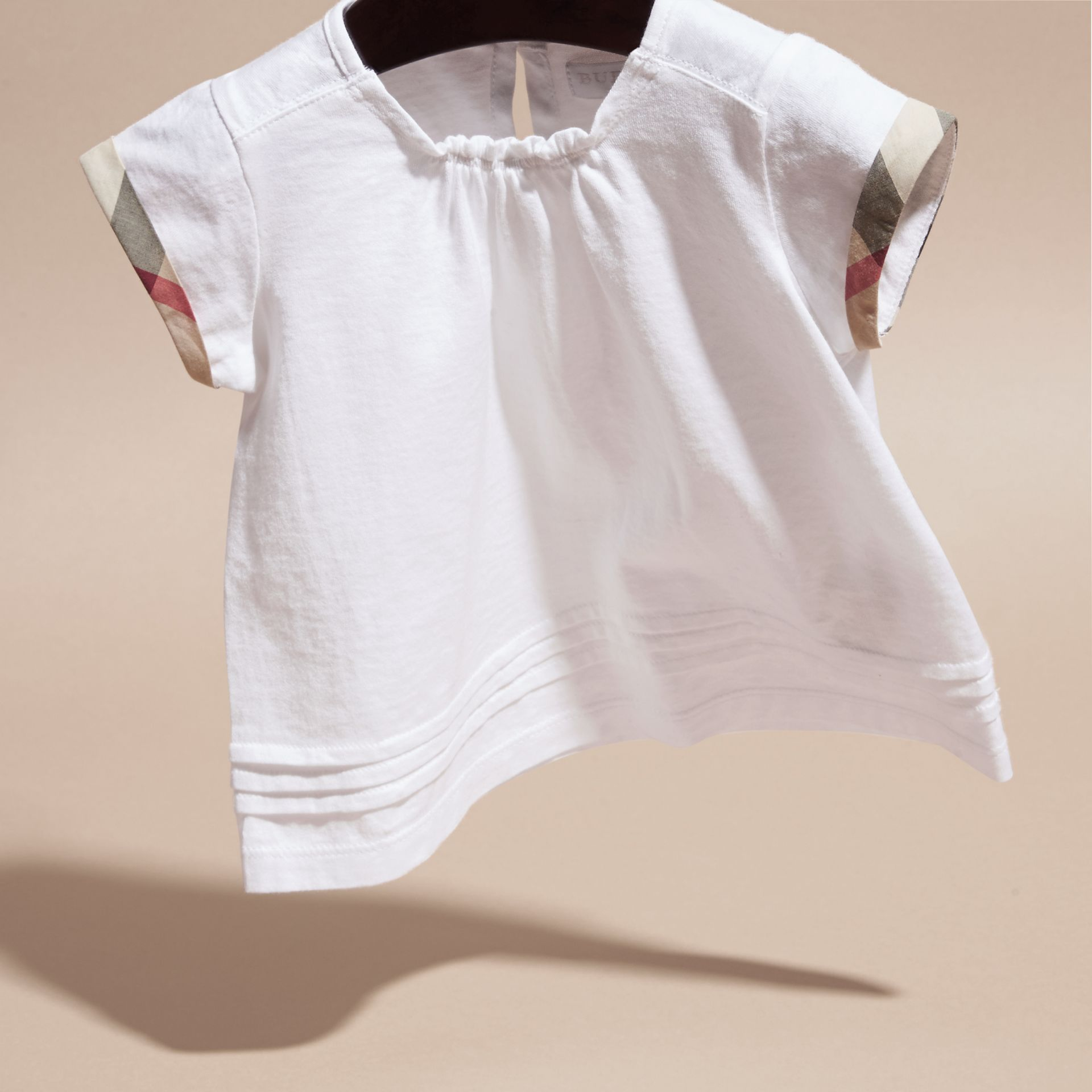 White Check Trim Cotton T-shirt - gallery image 3