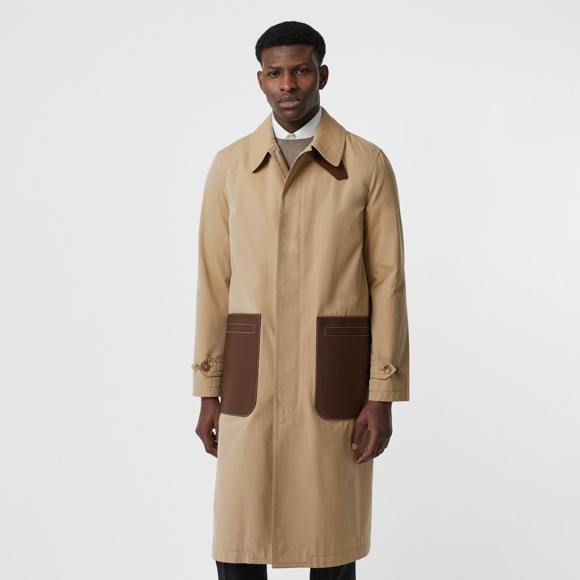 Leather Detail Cotton Gabardine Car Coat in Honey | Burberry United Kingdom - gallery image 5