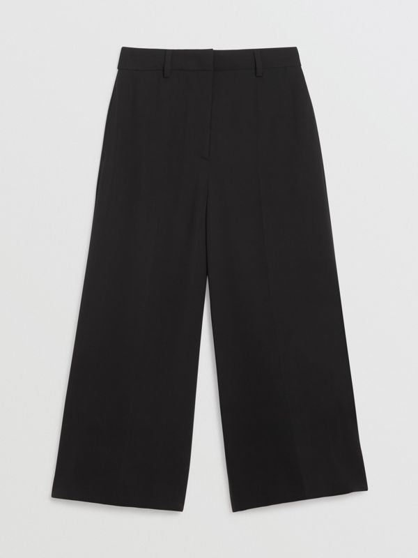Silk Wool Tailored Culottes in Black - Women | Burberry - cell image 3